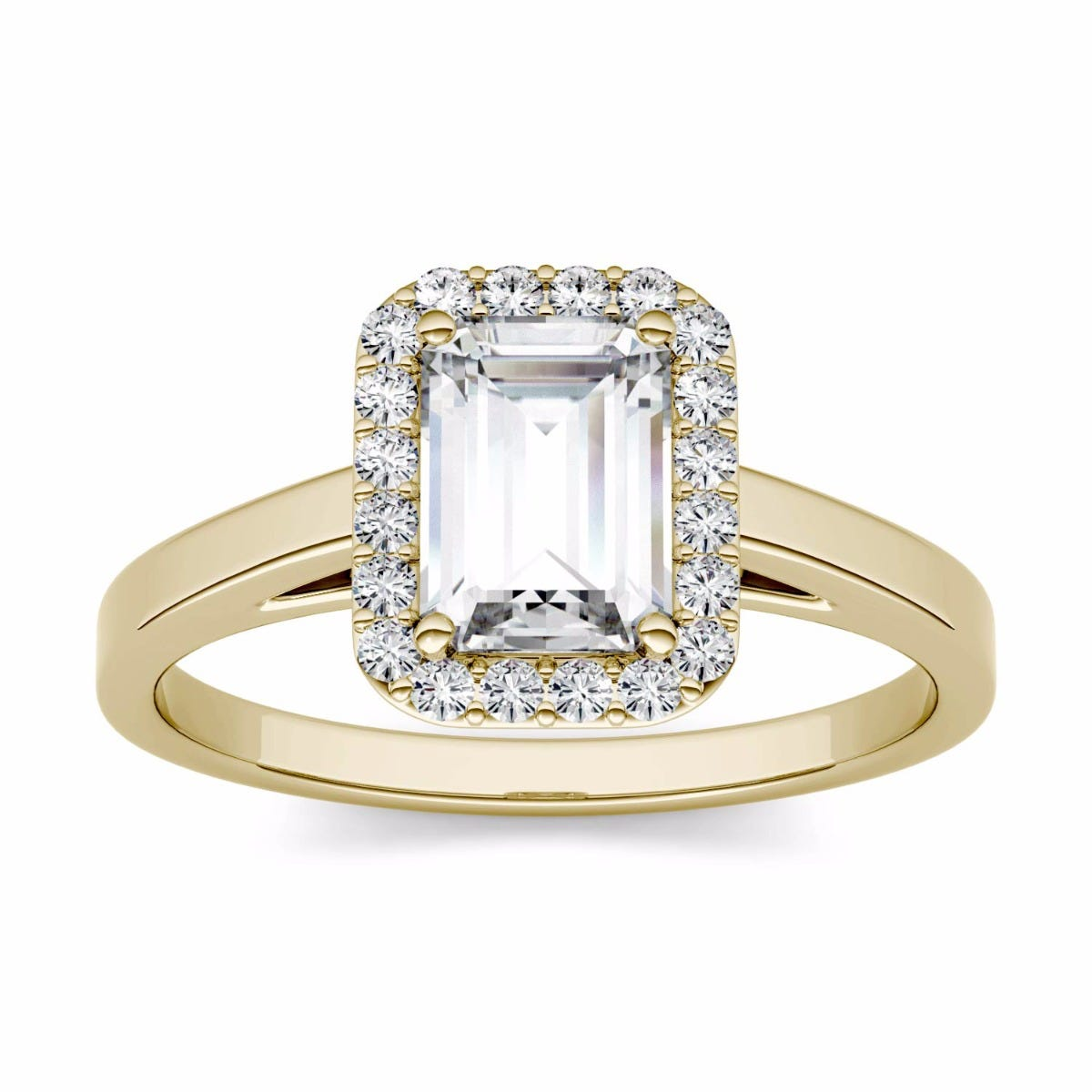Emerald 2.4716cttw DEW Moissanite Halo Engagement Ring in 14K Yellow Gold 525081