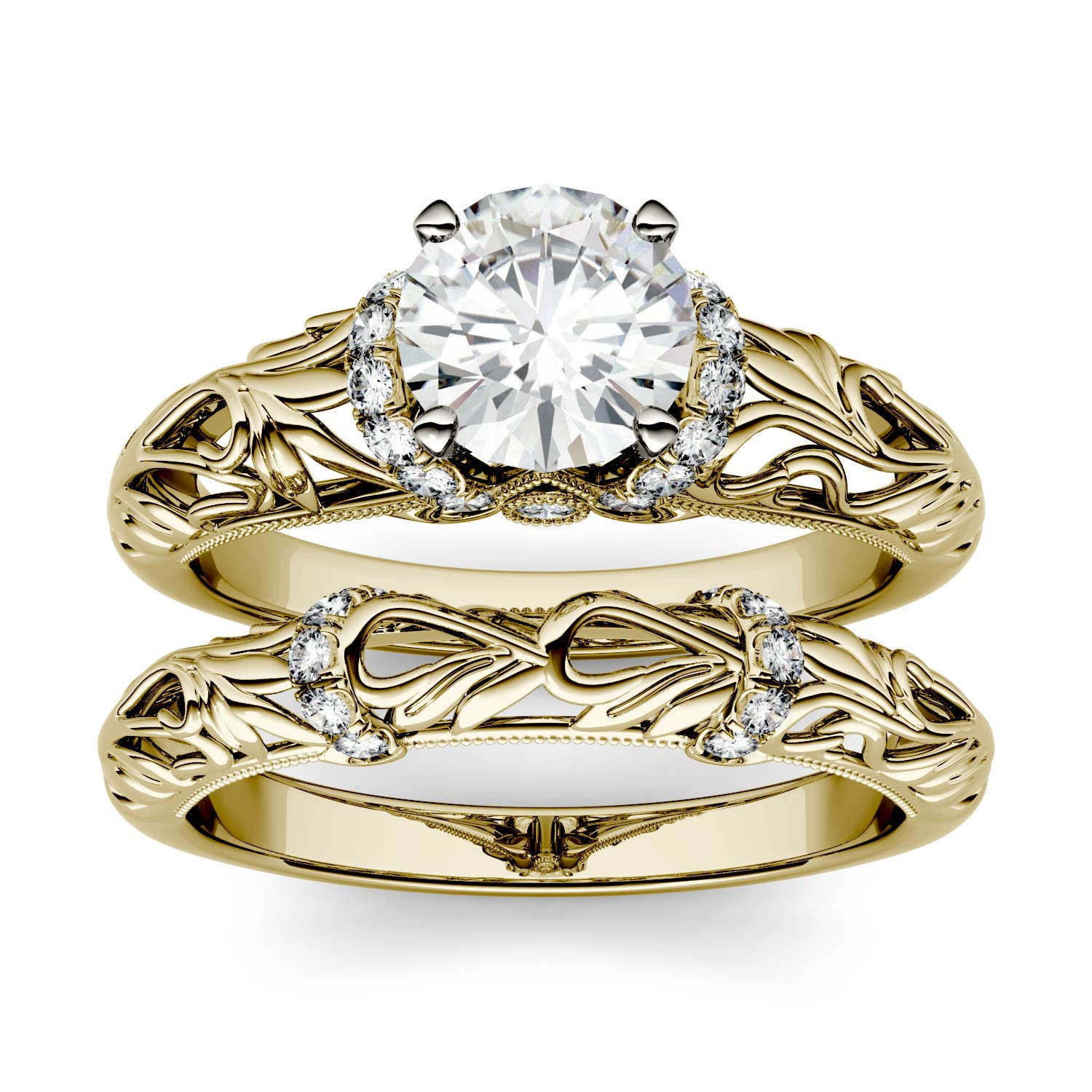 Round 1.06cttw DEW Moissanite Floral Band Solitaire with Side Accents Bridal Ring in 14K Yellow Gold 505098