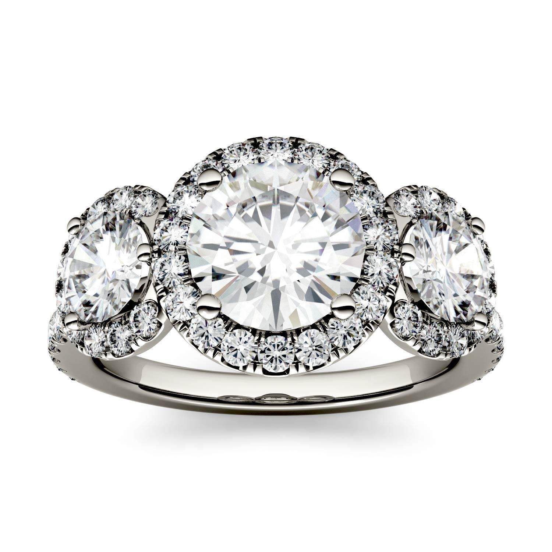 Round 2.62cttw DEW Moissanite Three Stone Halo Ring in 14K White Gold 519583