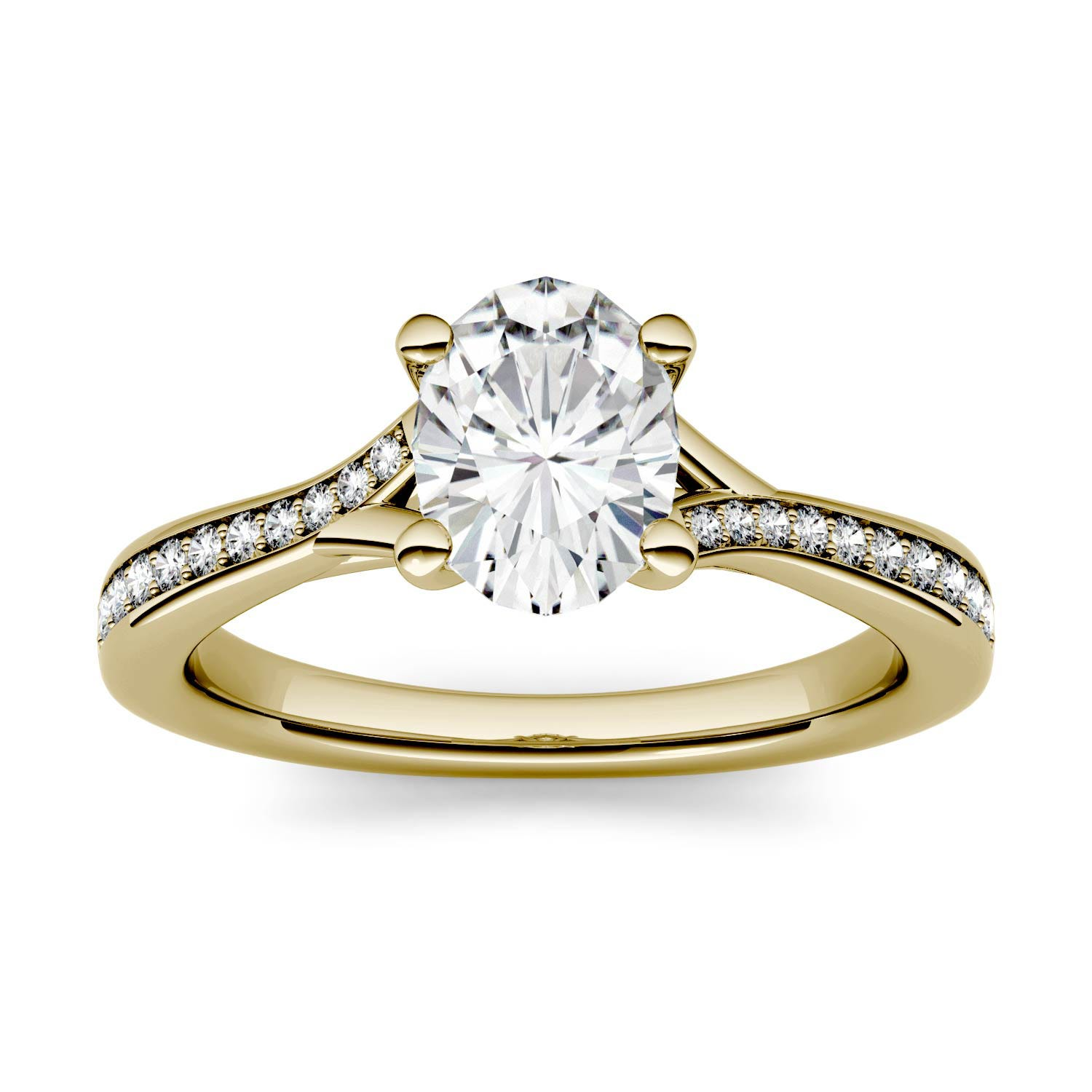 Oval 0.94cttw DEW Moissanite Solitaire with Side Accents Engagement Ring in 14K Yellow Gold 500114