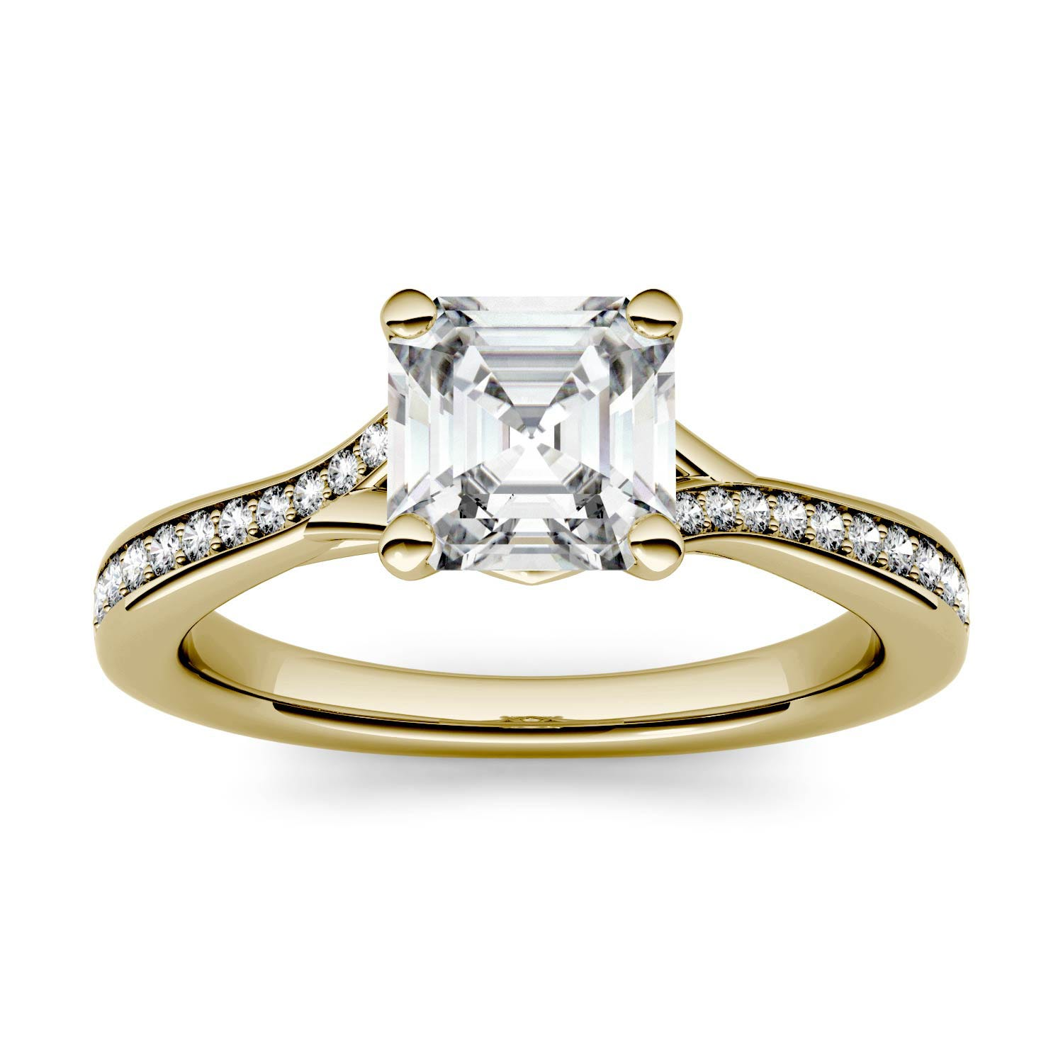 Asscher 1.29cttw DEW Moissanite Solitaire with Side Accents Engagement Ring in 14K Yellow Gold 500115