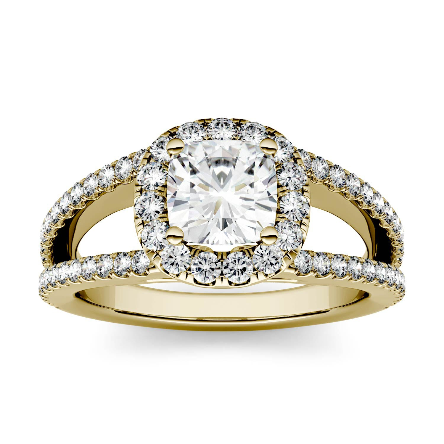 Cushion 1.46cttw DEW Moissanite Split Shank Halo with Side Accents Engagement Ring in 14K Yellow Gold 500116