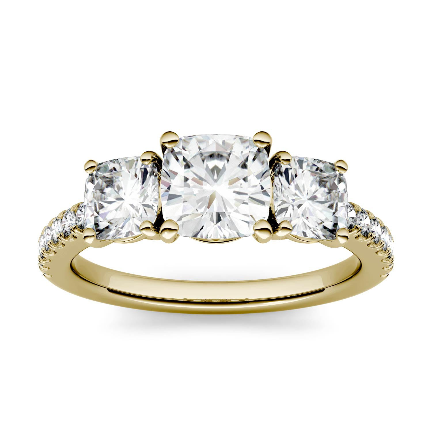 Cushion 1.91cttw DEW Moissanite Three Stone with Side Accents Ring in 14K Yellow Gold 500117