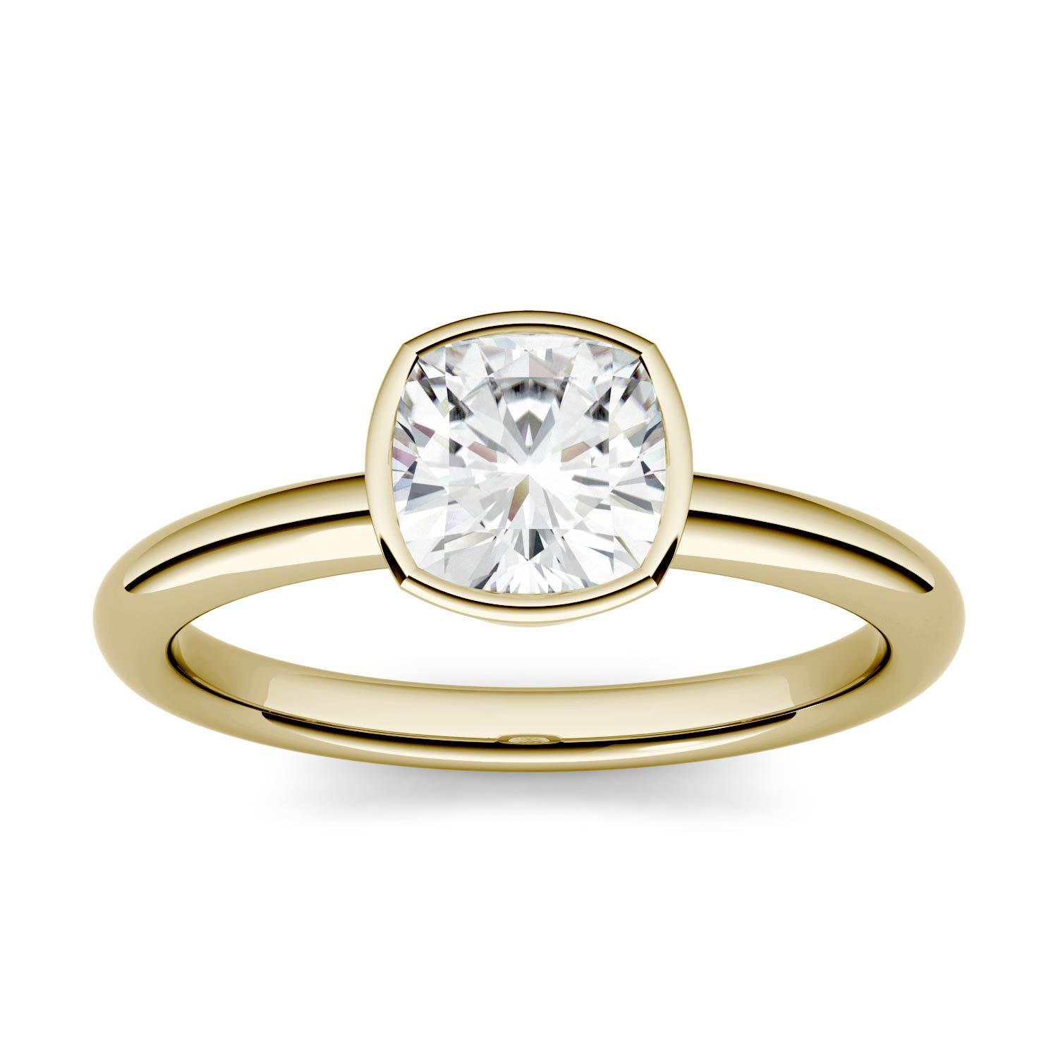 Cushion 0.96cttw DEW Moissanite Bezel Set Solitaire Engagement Ring in 14K Yellow Gold 500118