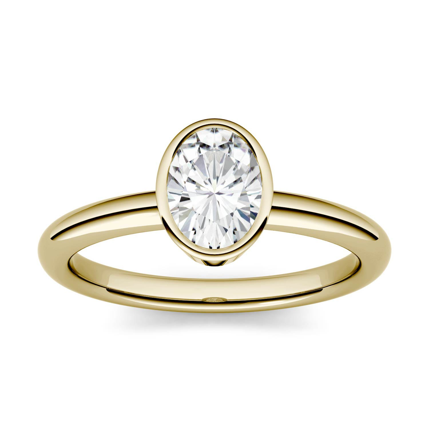 Oval 0.84cttw DEW Moissanite Bezel Set Solitaire Engagement Ring in 14K Yellow Gold 500119