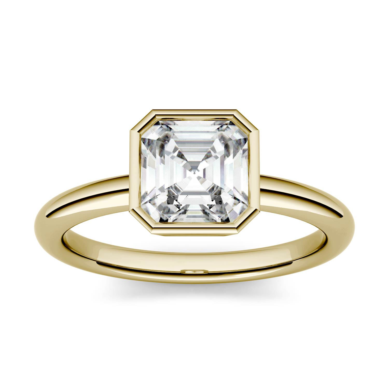 Asscher 1.19cttw DEW Moissanite Bezel Set Solitaire Engagement Ring in 14K Yellow Gold 500120