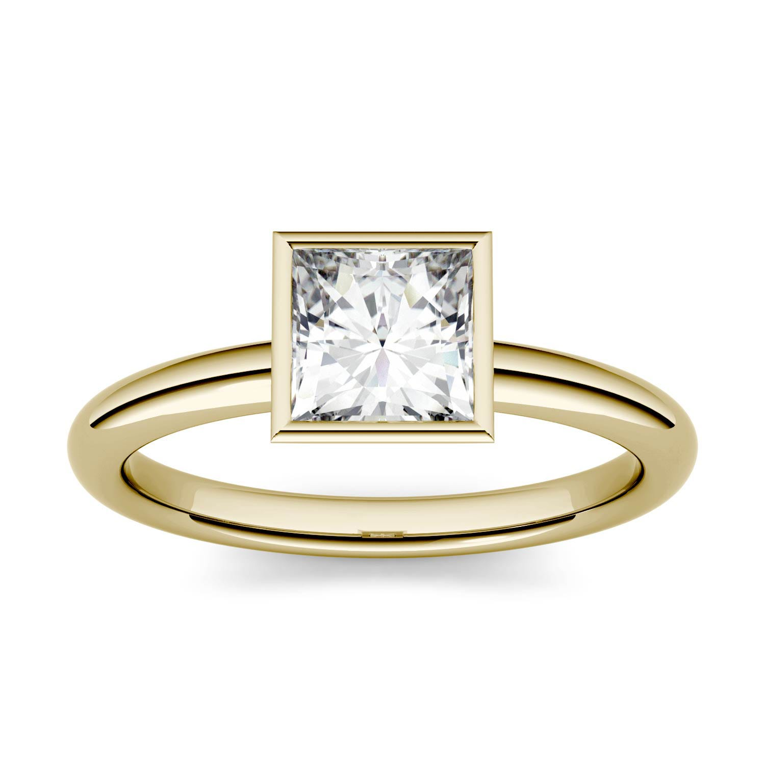 Square 0.91cttw DEW Moissanite Bezel Set Solitaire Engagement Ring in 14K Yellow Gold 500121
