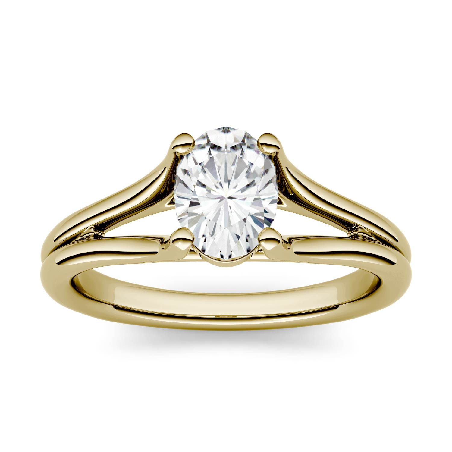 Oval 0.84cttw DEW Moissanite Split Shank Solitaire Engagement Ring in 14K Yellow Gold 500122