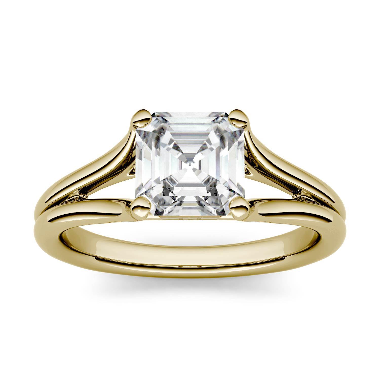 Asscher 1.19cttw DEW Moissanite Split Shank Solitaire Engagement Ring in 14K Yellow Gold 500123