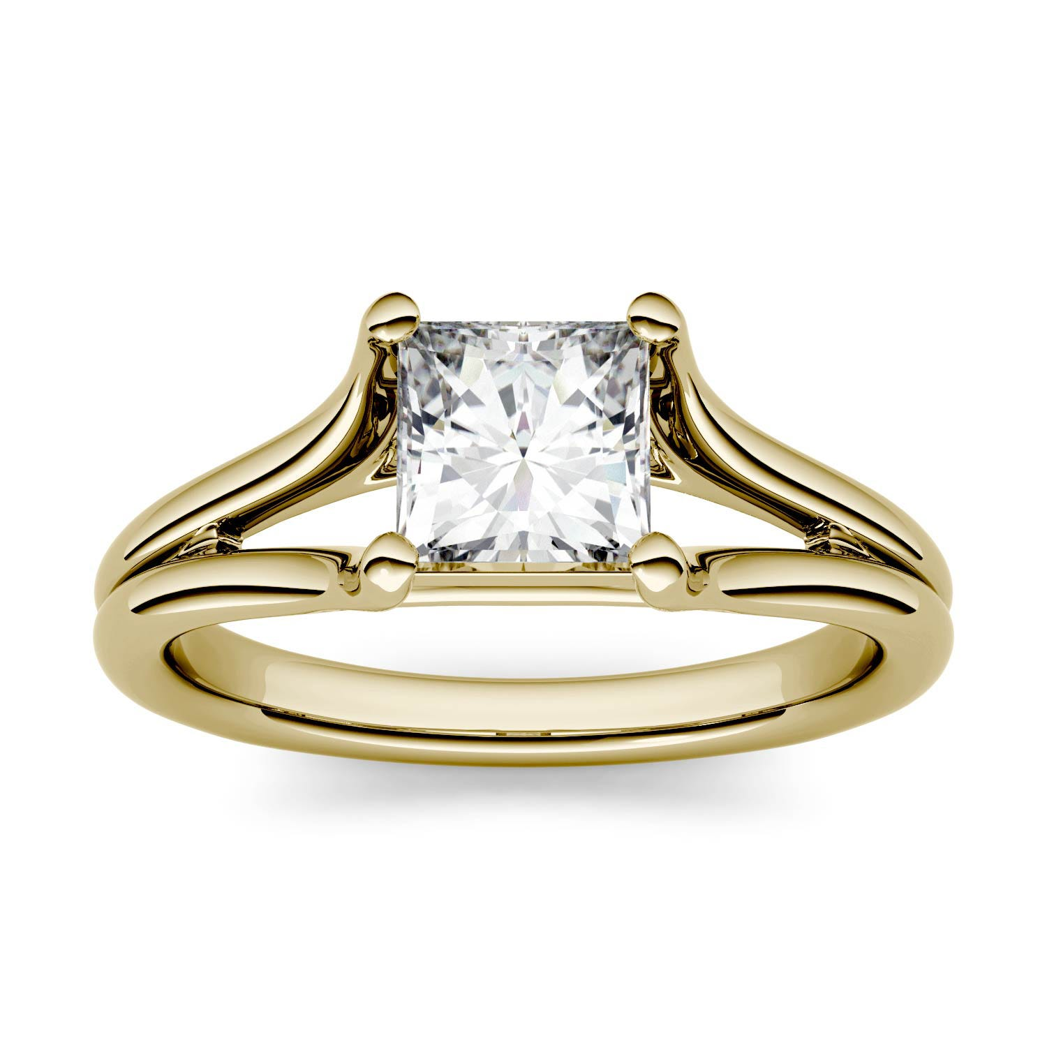 Square 0.91cttw DEW Moissanite Split Shank Solitaire Engagement Ring in 14K Yellow Gold 500124