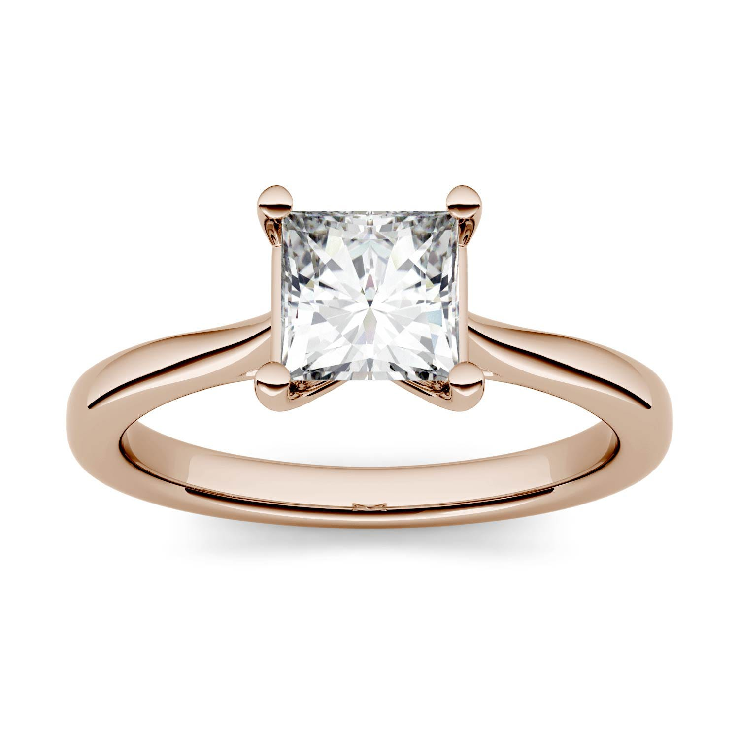 Square 0.91cttw DEW Moissanite Solitaire Engagement Ring in 14K Rose Gold 513511