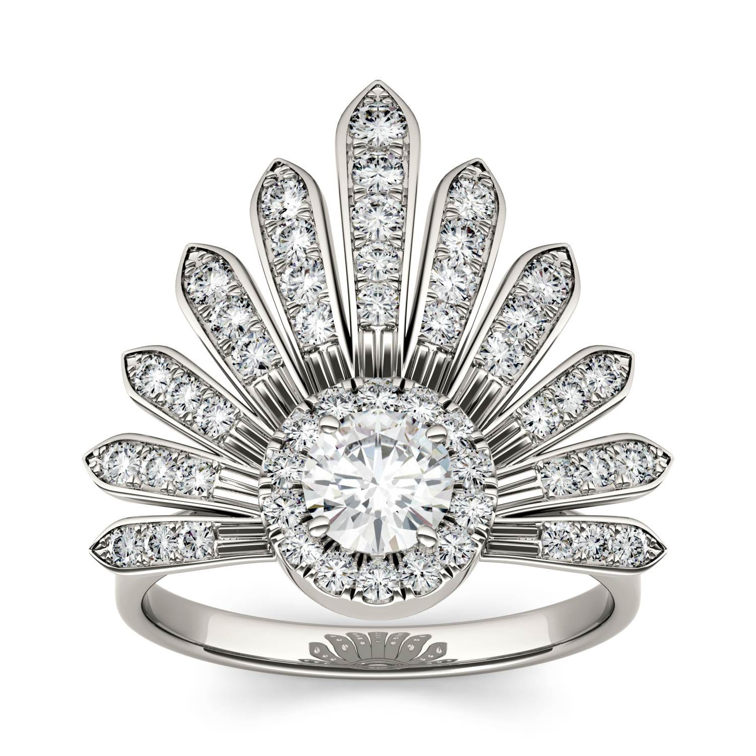 Round 0.88cttw DEW Moissanite Nature Inspired Fashion Ring in 14K White Gold 529149