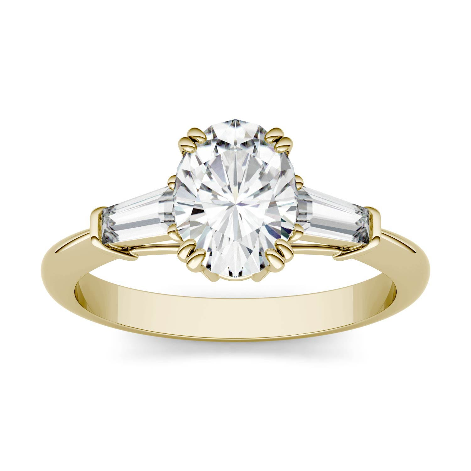 Oval 1.33cttw DEW Moissanite Three Stone Engagement Ring in 14K Yellow Gold 557503