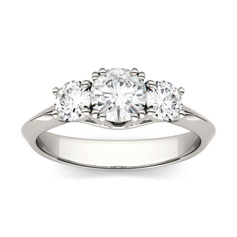 Round 0.97cttw DEW Moissanite Three Stone Engagement Ring in 14K White Gold 569621