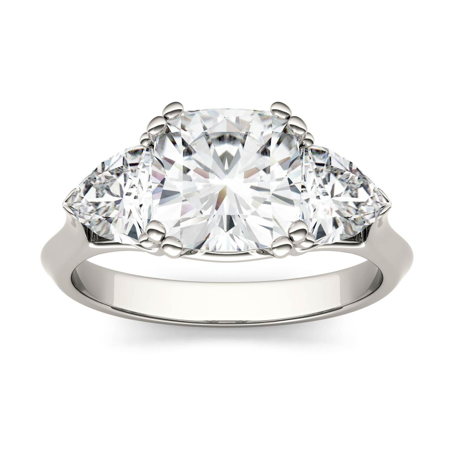 Cushion 2.74cttw DEW Moissanite Three Stone Engagement Ring in 14K White Gold 573728