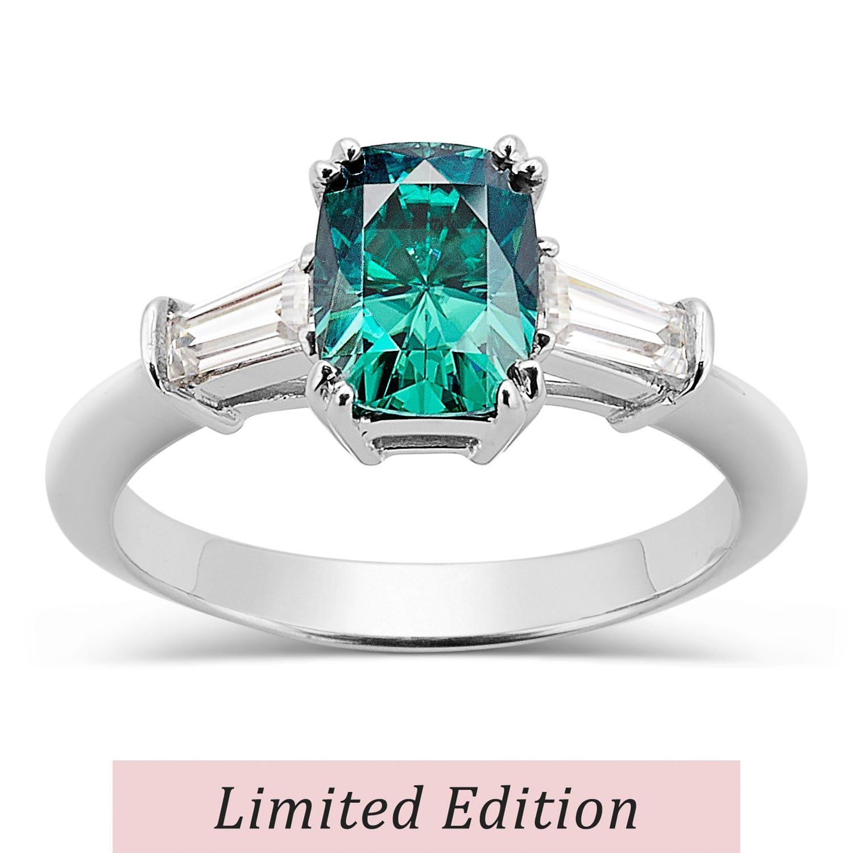 Rectangular Cushion 1.89cttw DEW Moissanite Green Ring in 14K White Gold 584105