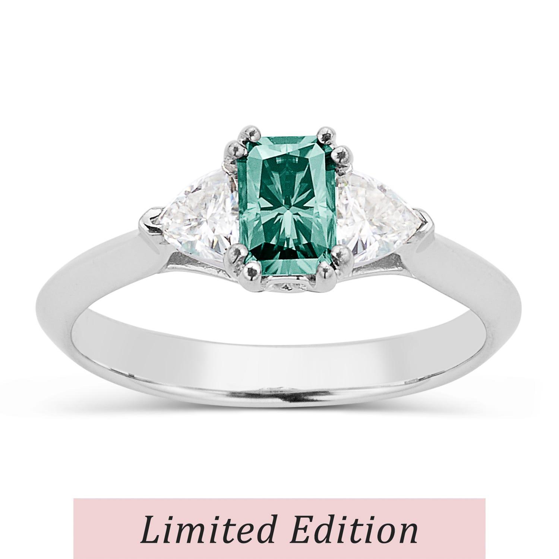 Radiant 0.97cttw DEW Moissanite Green Ring in 14K White Gold 584135