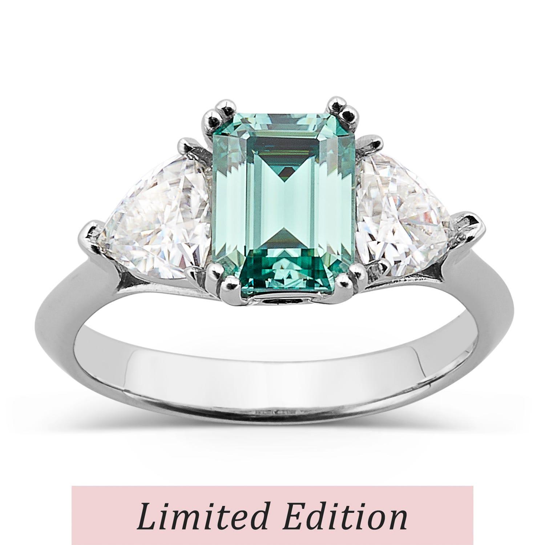 Emerald 2.54cttw DEW Moissanite Green Ring in 14K White Gold 584141