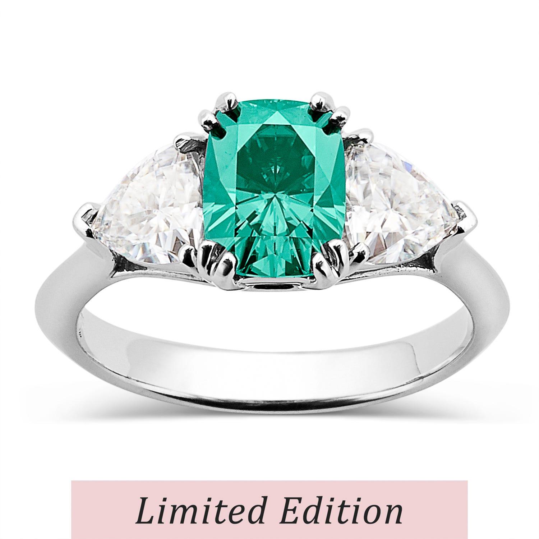 Rectangular Cushion 2.49cttw DEW Moissanite Green Ring in 14K White Gold 584147