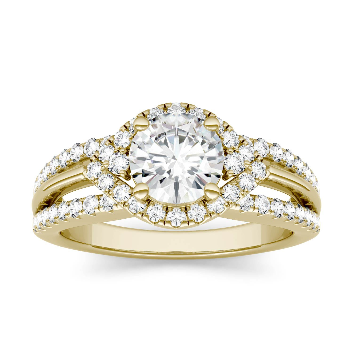 Round 1.11cttw DEW Moissanite Abstract Halo Engagement Ring in 14K Yellow Gold 606796