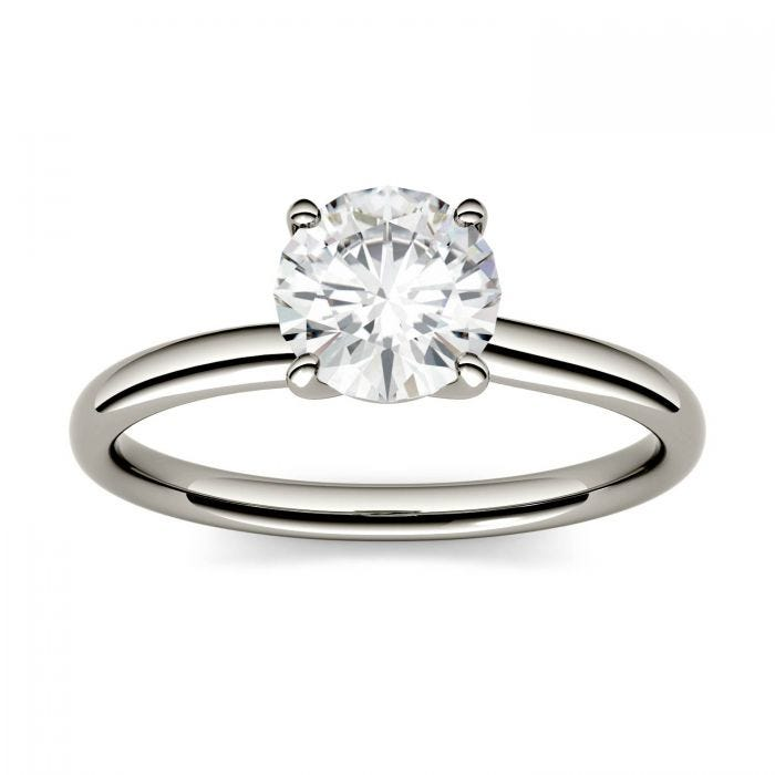 Round Moissanite Four Prong Solitaire