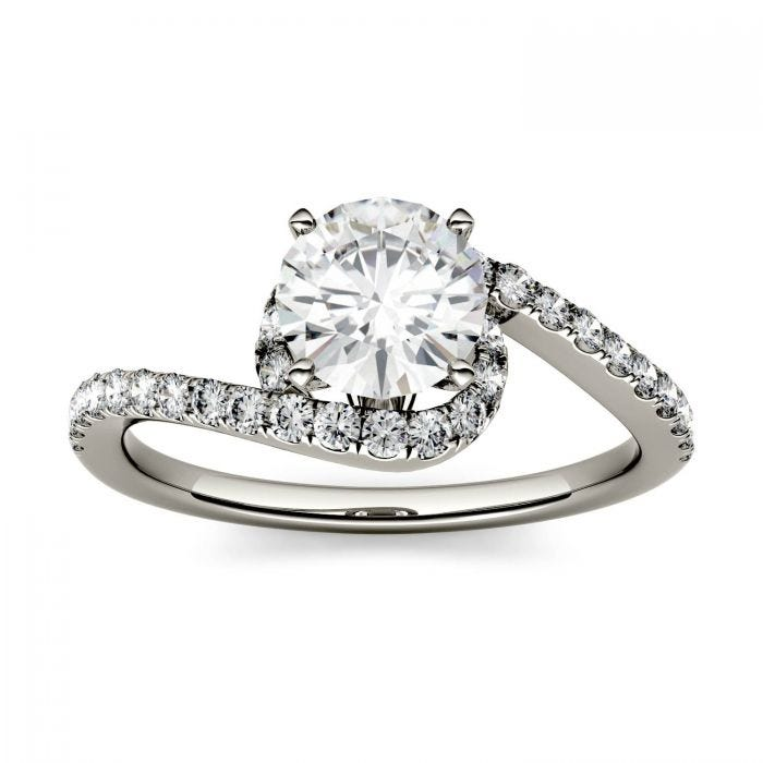 Forever One Round Moissanite Swirl Bypass Engagement Ring