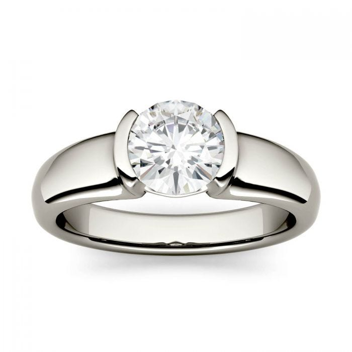 Forever One Round Moissanite Solitaire Half Bezel Engagement Ring