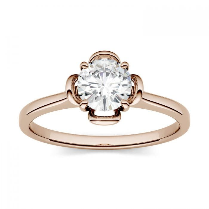 Forever One Round Moissanite Flower Solitaire Engagement Ring