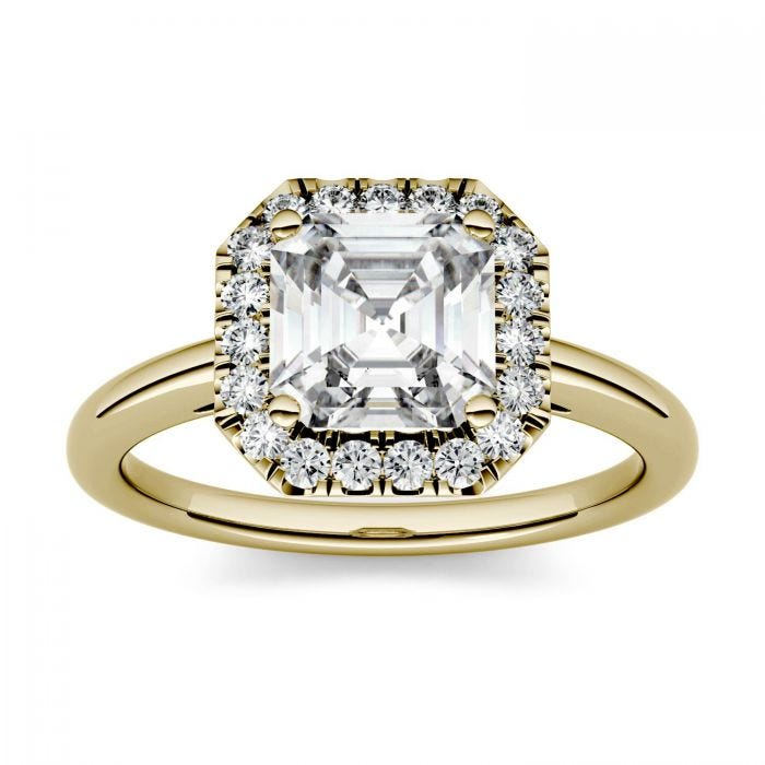 Forever One Asscher Moissanite Halo Engagement Ring