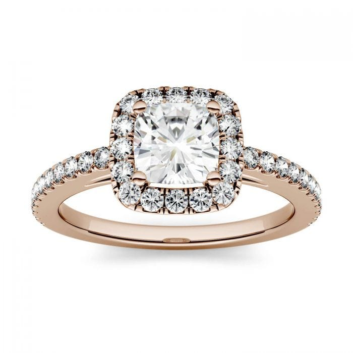 Forever One Cushion Moissanite Halo with Side Accents Engagement Ring