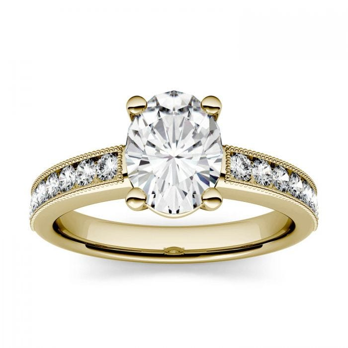 Forever One Oval Moissanite Solitaire with Milgrain Side Accents Engagement Ring