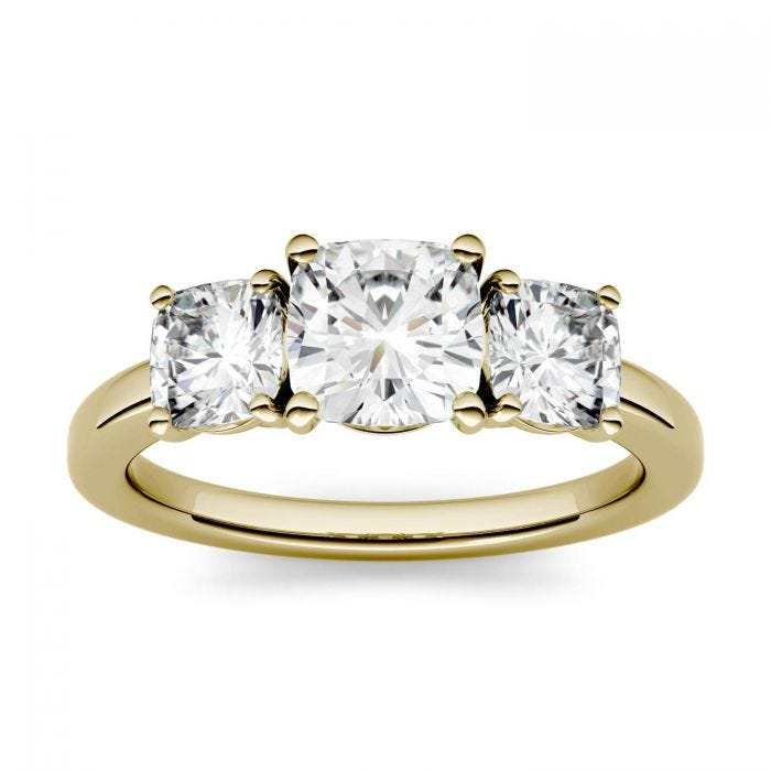 Forever One Cushion Moissanite Three Stone Ring