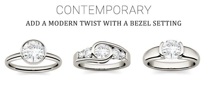 Moissanite Bezel Engagement Rings for Contemporary Bride