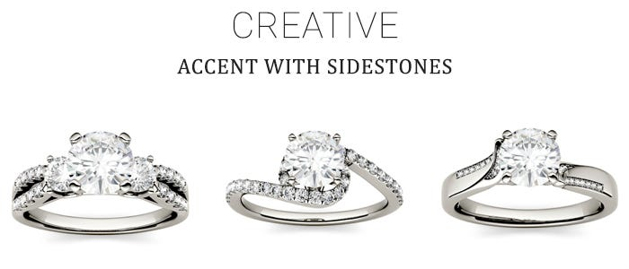 Moissanite Engagement Rings with Side Accents for the Creative Bride