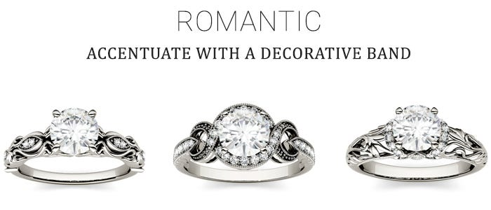 Decorative Moissanite Engagement Rings for the Romantic Bride