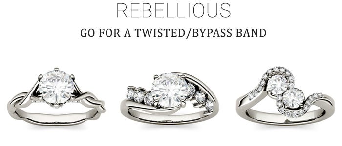 Bypass Band Engagement Ring for the Rebellious Bride
